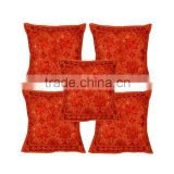 Handmade Embroiderd Mirror Work Cushion Cover Indian Decor Cotton Throw Pillow Cushion Covers