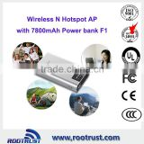 Portable wireless N wifi router with battery
