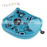 Joint Triangle PU Design Sea Blue Rubber PU Zipper Cosmetic Bag with Full Color Printing