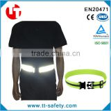 high visibility reflective adjustable lightweight elastic waist safety belt for harness running cycling walking