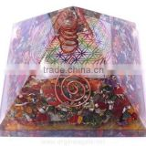 Orgonite Mix Chakra Gemstone Pyramid With Flower Of Life Chakra Symbol Charged Crystal Point : Orgonite Agate