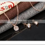 High quality stainless steel fashion jewelry set wholesale rose gold plated costume jewelry