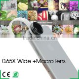 Universal 2 in 1 Lens 0.65X Wide Angle + Macro Mobile Phone Lens photo Kit Set for iPhone 4S 5 5S Samsung S4 Note2 3