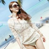 Ladies Sexy Boho Crochet Sheer Lace Floral Crop Bikini Knit Top Blouse Shirt
