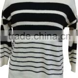 Stretch yarn,soft hand feeling,acrylic and nylon,stripe,ladies' pullover