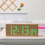 2016 hot sale digital clock home decor LED clcok fashion wood clock table clock with high quality with Dot matrix display