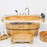 China wooden bathtub cheap wood soaking tub copper drain valve