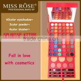 2015new brand Miss Rose 60Eyeshadow 3Bronzer 4Blusher Palette Cosmetics Makeup Kit
