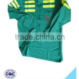 hot selling cheap breathable green with yellow reflective tapes separated workwear coverall