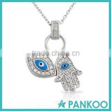 Sterling Silver Evil Eye Hamsa Blue White Crystals Pendant Necklace
