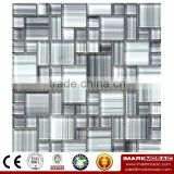 IMARK White Mix Gray Color Hand Painting Crystal Glass Mosaic Tiles for Wall Backsplash Code IVG8-041