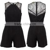 New Arrival ! Black Lace !Sleeveless jumpsuit with Short Pants for Beautiful Elegant Ladies