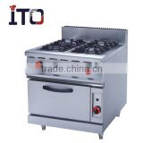 987A Freestanding Commercial 4 Burners Gas Range/Cooker with Oven for Restaurant&Hotel