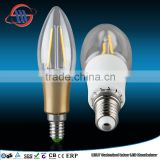 Mingshuai Chandelier LED filament bulb candelebra C35 with plastic gold plated 2W E14 dimmable