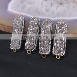 Silver Gray Agate Titanium Druzy Connector Beads, Rectangle Bar Pave Crystal Druzy Stone For Jewelry Making