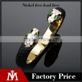 Factory directly black leather punk bangle stainless steel gold jewelry antique snake bracelet