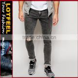 Super Skinny Fit Distressed denim man jeans pant hole sex jeans jeans only style antique rivet jeans(LOTA067)