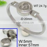 Newest bangle watch design rotational opening steel color bangle