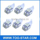 6 x T10 20-SMD LED White Super Bright Car Lights Bulb - 194,168,2825, W5W