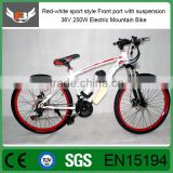 Red-white sport style Front port with suspension 36V 250W Electric Mountain Bike