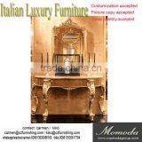 momodal luxury antique golden European solid wood decoration living room console table entrance decoration table with mirror