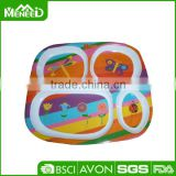 Attractive butterfly& bees & flower printed 4 compartments child safety kids lunch plate