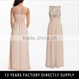 A SOS Nude Pink Chiffon with stone beaded Latest bridesmaid Gown dresses