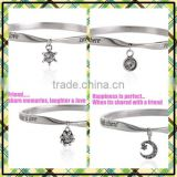 Custom twist words logo bangle mix diy small tags charm bangle cheap metal bangle free sample