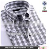 Latest Attractive style plaids 100%Organic Cotton Yarn dyed Men casual short sleeve shirt with Button-down collar