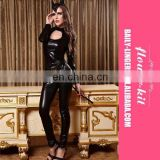 low price Fashion Hot Erotic Sexy Black Cat Burglar Costume Catsuit Romper Full Set Leather