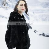 Elegant Black Mink Fur Coat Full Skin Imported Mink Fur Overcoat Women's Deluxe Mink Fur Dress