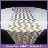 SQN70E2 Zig zag white and gold sequin chevron sequin table linens
