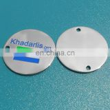 round shape metal logo label for handbag with holes