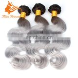 8A Grade Sliver Gray Ombre Indian Hair Extensions Wholesale Price Virgin Human Weft Cheap Weave Hair On Oline