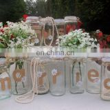 Wedding Top Table Just Married Decorated Jars Vases For Flowers