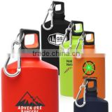 flat aluminium bottle with carabiner hook
