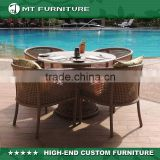 2016 new design aluminum frame wicker outdoor rattan furniture restaurant dining tables and chairs