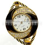High quality Women Set drill Round Crystal Rhinestone Decorated Bangle Cuff Analog Quartz Bracelet Watch