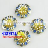 Blue stone gold metal flower suitable for leather,shoes flower craft, metal flower for shoes