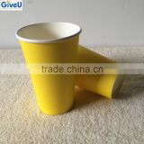 Yellow Color 10oz Coffee Cups / Paper Cups Double Wall Style and Paper Material Coffee Cup