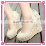 New Lacing Studs Wedge Heel Shoes Woman Wedgs XT12071608