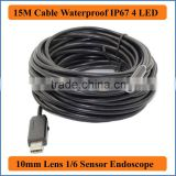 15M Cable 7mm Lens USB Endoscope Pipe Inspection Camera Borescope 6 LEDs IP67 Waterproof Mini PC Tube Snake