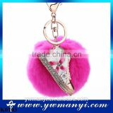 Metal key chain snap hook shoes keychain fur ball key chain colored keyring wholesale K0103