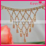 new arrival gold plated metal and clear rhinestone crystal collection jewelry chain trim wholesale WRC-206