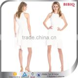 new fashion elegant women dress sexy cream spaghetti strap round neck Hi-Lo above knee mini prom dress