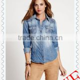2014 autumn women's long sleeve lab washed denim slim-fit fashion shirt with lace