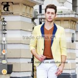 2016 New stylish Design sky blue yellow One Button Breathable Middle half Sleeve mans Blazer Slim Fit mens Jacket