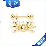 Wholesale barbell body jewelry gold plated lock nipple ring piercing jewelry