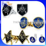 Gold Plated Black Enamel Mens Accessories Stainless Steel Masonry Cuff Links Masonic Cufflinks
