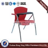 office furniture leather folding chair with steel frame conference chair with writing table HX-TRC005